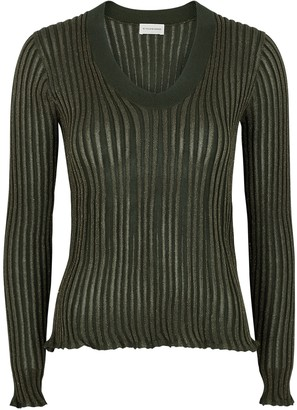 By Malene Birger Bhesa Army Green Ribbed Metallic-weave Jumper