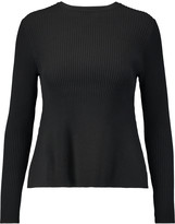 Iris and Ink Andrea ribbed stretch-knit peplum sweater