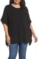 Sejour Plus Size Women's Fringe Poncho Sweater