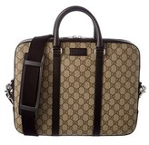 Gucci Gg Supreme Canvas & Leather Briefcase.