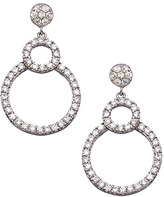 Tang and Song Sterling Silver and Diamond Pave Drop Circle Earrings