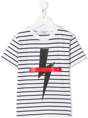 Neil Barrett Kids striped lightning print T-shirt