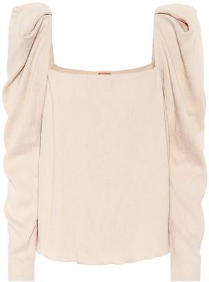 Johanna Ortiz Grass Like Sand plisse blouse