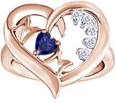 """AFFY Simulated Blue Sapphire & White Natural Diamond """"MOM"""" Heart Ring In 14K Gold Over Sterling Silver"""