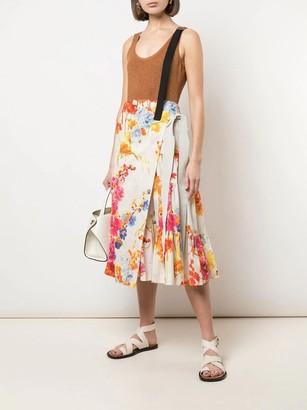 Dries Van Noten Multicolored Floral Print Wrap-around Skirt
