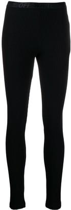 Off-White Ribbed Leggings