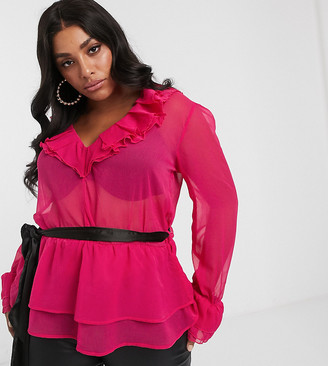 Unique21 Hero Unique 21 ruffle blouse with contrast belt in raspberry