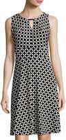 Chetta B Keyhole Graphic-Print Dress, Black/White