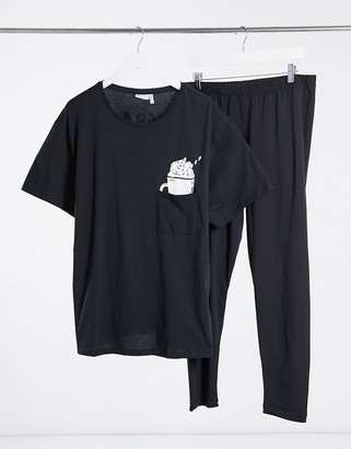 ASOS DESIGN Christmas 'loco for hot cocoa' oversized tee and leggings pajama set in black