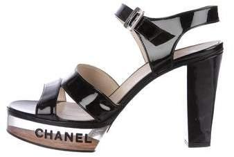 Chanel Patent Leather Platform Sandals
