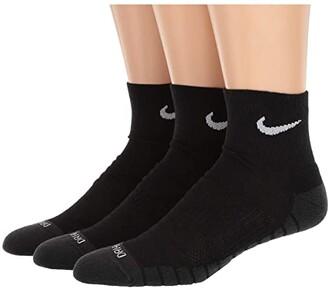 Nike Dry Cushion Quarter Training Socks 3-Pair Pack (Black/Anthracite/White) Quarter Length Socks Shoes