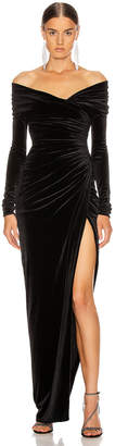 Alexandre Vauthier Off the Shoulder Ruched Velvet Gown in Black | FWRD
