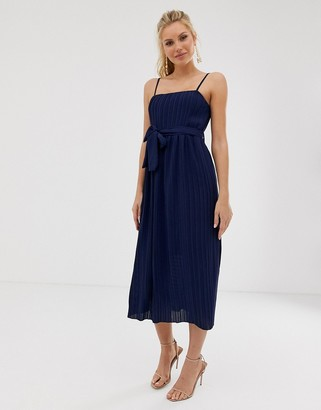 Asos Girl In Mind pleated square neck midaxi strap dress-Navy