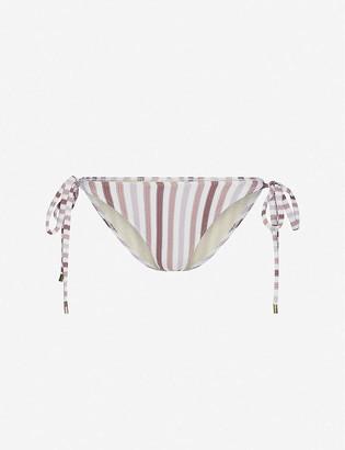 Peony Swimwear Striped mid-rise bikini bottoms