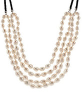 Honora As Is Cultured Pearl Baroque Multi- Strand Leather Necklace