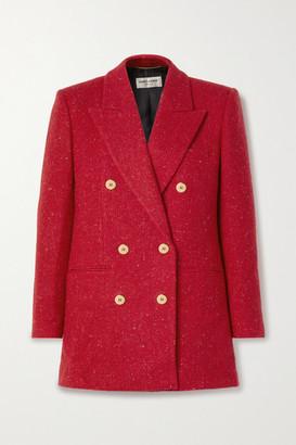 Saint Laurent Double-breasted Wool-tweed Blazer - Red