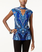 INC International Concepts Petite Printed Mock-Neck Top, Only at Macy's