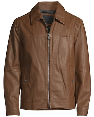 Andrew Marc Waxed Leather Shirt Jacket