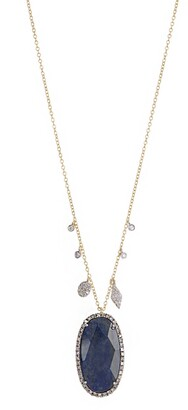 Meira T 14K Yellow Gold Faceted Labradorite Oval Pendant & Pave Diamond Fringe Necklace