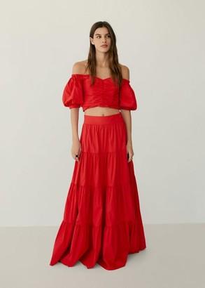 MANGO Flared poplin skirt red - XS - Women