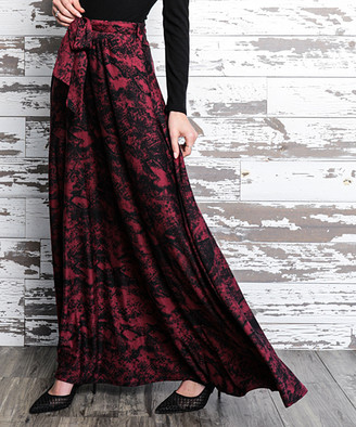 Milly Penzance Women's Maxi Skirts burgundy - Burgundy & Black Snake Tie-Waist Maxi Skirt - Women & Plus
