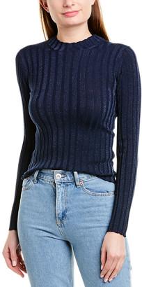 Vince Ribbed Mock Neck Wool-Blend Pullover