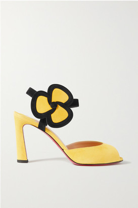 Christian Louboutin Pansy 85 Two-tone Suede Sandals - Yellow