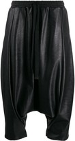 Alchemy faux-leather drop-crotch shorts