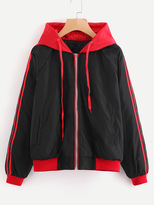 Shein Contrast Stripe Side Drawstring Hooded Jacket
