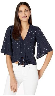 1 STATE Flounce Sleeve V-Neck Moonlit Polka Blouse (Blue Night) Women's Clothing