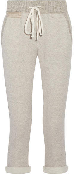 James Perse Cotton-blend Terry Track Pants - Light gray