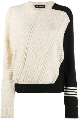 Neil Barrett Panelled Cable-Knit Jumper