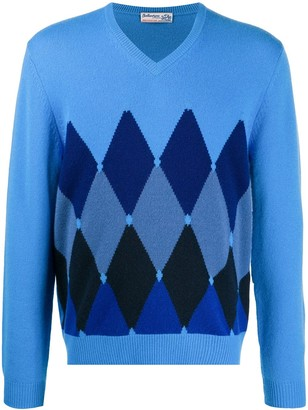 Ballantyne V-neck diamond cashmere jumper