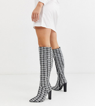Asos Design DESIGN Wide Fit Coral heeled knee high boots in tweed-Multi