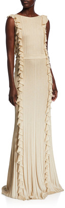 St. John Shimmer Ottoman Knit Ruffled Gown