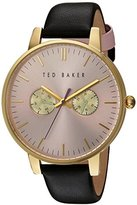 Ted Baker Women's 'Sport' Quartz Stainless Steel and Leather Dress Watch, Color:Black (Model: 10030749)