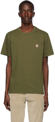 MAISON KITSUNÉ Khaki Fox Head T-Shirt