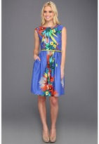 Ellen Tracy Cap Sleeved Printed Floral With Belt (Blue Multi) - Apparel