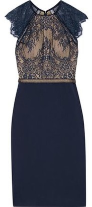 Catherine Deane Noella Crochet-trimmed Lace And Ponte Dress