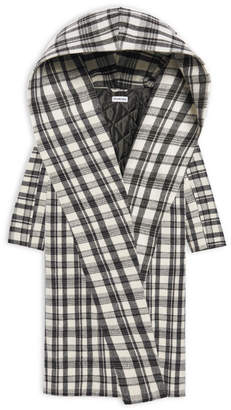 Balenciaga Incognito Maxi Coat in black and white checked virgin wool