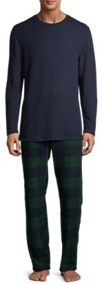 Hanes Men's and Big Men's Long Sleeve Waffle Top with Cozy Micro Fleece Pajama Pant Set