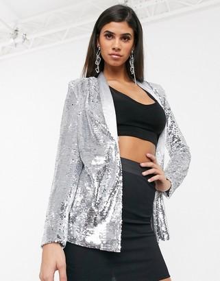 UNIQUE21 sequin blazer in silver
