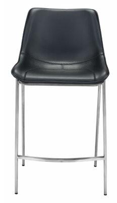 "Orren Ellis Antenore 25.8"" Counter Stool Base Color: Chrome, Seat Color: Black"
