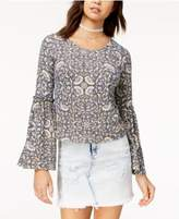Love, Fire Juniors' Printed Bell-Sleeve Rib-Knit Top