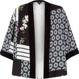 River Island Womens Black panel tile print cropped kimono