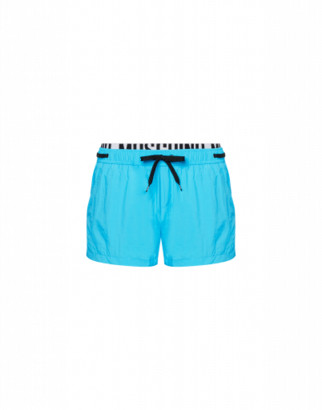 Moschino Elastic Band Fluo Beach Boxer Man Blue Size L It - (m Us)