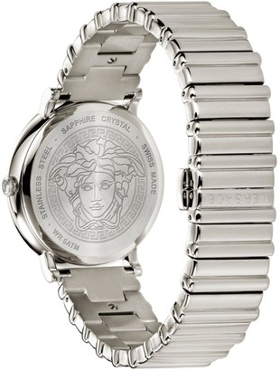 Versace V-Circle Silver and Gold Detail Dial Two Tone Stainless Steel Bracelet Ladies Watch