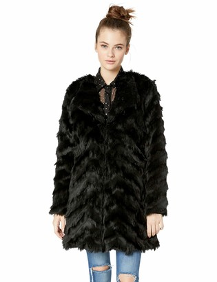 BB Dakota Junior's It's All Happening Chevron Faux Fur Coat