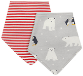 John Lewis Polar Bear Dribble Bib, Pack of 2, Grey/Red