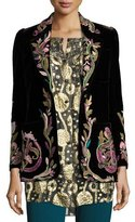 Roberto Cavalli Embroidered Velvet One-Button Blazer, Black Pattern
